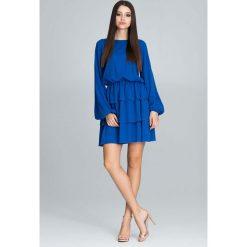 Niebieska Romantyczna Wyjściowa Sukienka z Długimi Bufiastymi Rękawami. Niebieskie sukienki balowe Molly.pl, l, z falbankami, z długim rękawem. Za 172,90 zł.