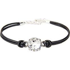 Bransoletki damskie: Skórzana bransoletka w kolorze czarnym z elementem ozdobnym