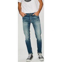 Jack & Jones - Jeansy Glenn. Czarne jeansy męskie slim marki Jack & Jones, l, z bawełny, z okrągłym kołnierzem. W wyprzedaży za 219,90 zł.