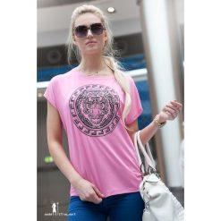 Bluzka z nadrukiem różowa. Czarne bluzki z odkrytymi ramionami marki Fasardi, m, z dresówki. Za 19,00 zł.