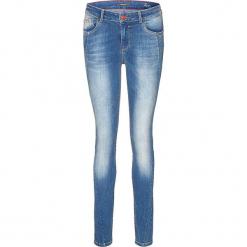 """Dżinsy """"Lorraine"""" - Super Skinny fit - w kolorze niebieskim. Niebieskie jeansy damskie H.I.S, z aplikacjami, ze skóry. W wyprzedaży za 173,95 zł."""