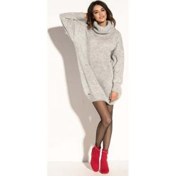 Szara Swetrowa  Ciepła Sukienka  z Wysokim Golfem. Szare sukienki balowe marki Molly.pl, na jesień, uniwersalny, ze splotem, z golfem, z krótkim rękawem, mini, dopasowane. Za 149,90 zł.