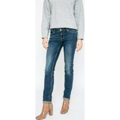 Mustang - Jeansy Jasmin. Niebieskie jeansy damskie rurki marki Mustang, z bawełny, z obniżonym stanem. W wyprzedaży za 219,90 zł.