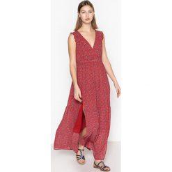 Długie sukienki: Bardzo długa sukienka bez rękawów, kwiatowy wzór