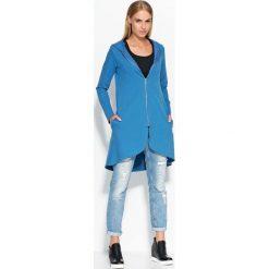 Bluzy damskie: Asymetryczna Niebieska Długa Bluza z Kapturem