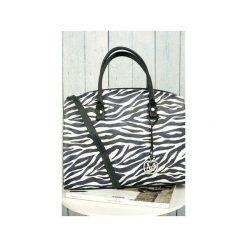Klasyczna torebka w stylu biznesowym animal print ZEBRA od MANZANA. Czarne kuferki damskie Manzana, z motywem zwierzęcym, z materiału, do ręki. Za 159,00 zł.