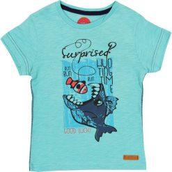 Nativo - T-shirt dziecięcy 104-164 cm. Szare t-shirty chłopięce z nadrukiem marki bonprix, m, z dzianiny, z kontrastowym kołnierzykiem. W wyprzedaży za 29,90 zł.