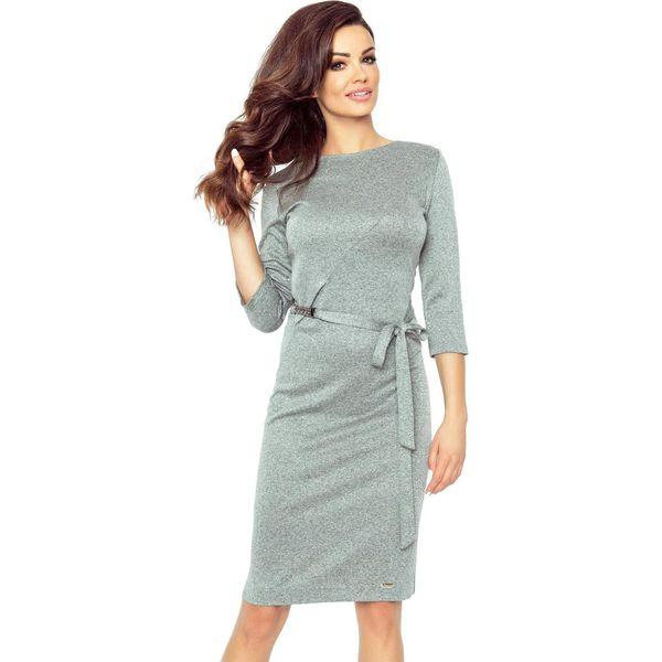 5e9f590ada Delfina elegancka sukienka podkreślona paskiem szary ciemny - Szare ...