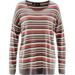 Sweter bonprix jasny miętowy w paski. Zielone swetry klasyczne damskie bonprix, z okrągłym kołnierzem. Za 37,99 zł.