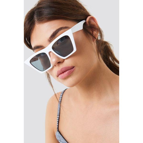 a1219116b9aede NA-KD Accessories Okulary przeciwsłoneczne ostre kocie oczy - White ...