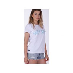 Lazy Star White T-shirt. Białe t-shirty męskie z nadrukiem marki Kingsize, l, z zamszu. Za 44,85 zł.