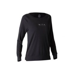 Koszulka długi rękaw Gym & Pilates 500 damska. Czarne bluzki sportowe damskie marki DOMYOS, xl, z bawełny. Za 39,99 zł.