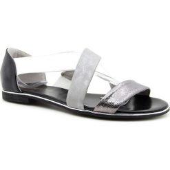 Rzymianki damskie: Sandały damskie na gumce srebrne Jezzi