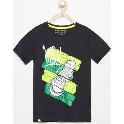 Odzież chłopięca: T-shirt z kolorowym nadrukiem – Czarny