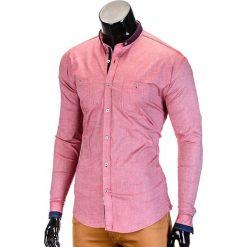 KOSZULA MĘSKA Z DŁUGIM RĘKAWEM K370 - CZERWONA. Brązowe koszule męskie na spinki marki Ombre Clothing, m, z aplikacjami, z kontrastowym kołnierzykiem, z długim rękawem. Za 49,00 zł.