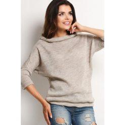 Swetry oversize damskie: Beżowy Melanżowy Sweter z Golfem