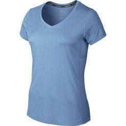 Bluzki asymetryczne: Nike Koszulka damska Miler V-neck niebieska r. S (686917 422)