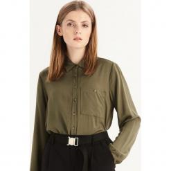 Gładka koszula z kieszenią - Khaki. Brązowe koszule wiązane damskie Sinsay, l. Za 49,99 zł.