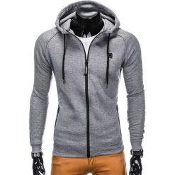 Bluzy męskie: BLUZA MĘSKA ROZPINANA Z KAPTUREM B741 – SZARA