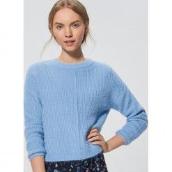 Krótki sweter - Turkusowy. Niebieskie swetry klasyczne damskie marki bonprix, na lato, z bawełny, z okrągłym kołnierzem. Za 89,99 zł.