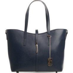 Torebki klasyczne damskie: Skórzany shopper bag w kolorze granatowym – 40 x 27 x 14 cm