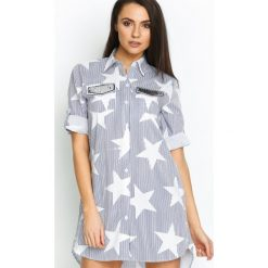 Granatowa Koszula Starshine. Niebieskie koszule damskie marki Born2be, na lato, koszulowe. Za 44,99 zł.