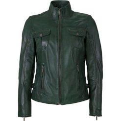 Bomberki damskie: Skórzana kurtka w kolorze zielonym