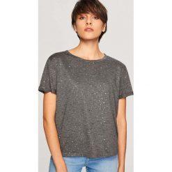 T-shirt z błyszczącym nadrukiem - Szary. Szare t-shirty damskie Reserved, l, z nadrukiem. Za 39,99 zł.