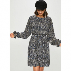 Only - Sukienka Lara. Szare sukienki mini marki ONLY, s, z bawełny, z okrągłym kołnierzem. Za 169,90 zł.