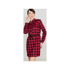Sukienka K256 Czarny-Czerwony. Czarne długie sukienki marki Lenitif, xl, w kratkę, z tkaniny, klasyczne, z klasycznym kołnierzykiem, z długim rękawem, dopasowane. Za 139,00 zł.