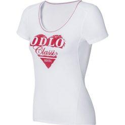 """Koszulka funkcyjna """"Cubic Trend"""" w kolorze białym. Białe t-shirty damskie Odlo, xs, z nadrukiem. W wyprzedaży za 112,95 zł."""