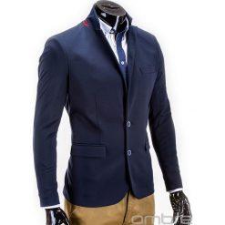 MARYNARKA MĘSKA ELEGANCKA M53 - GRANATOWA. Niebieskie marynarki męskie Ombre Clothing, z poliesteru. Za 129,00 zł.