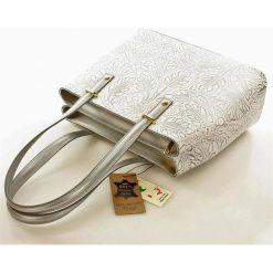 Torebki klasyczne damskie: Dwukomorowa torebka na ramię ze skóry naturalnej Genesis biała
