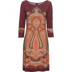 Sukienka shirtowa bonprix czerwony klonowy z nadrukiem. Niebieskie sukienki z falbanami marki bonprix, z nadrukiem. Za 99,99 zł.