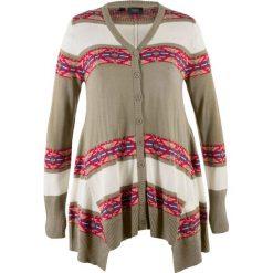 Swetry rozpinane damskie: Sweter rozpinany bonprix khaki w paski