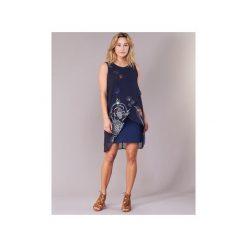 Sukienki krótkie Desigual  POELFDE. Niebieskie sukienki mini Desigual, z krótkim rękawem. Za 299,30 zł.