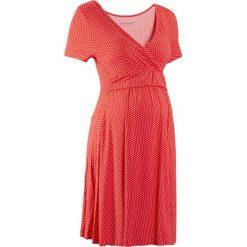 Sukienki: Sukienka ciążowa i do karmienia, shirtowa, krótki rękaw bonprix truskawkowo-biały w kropki