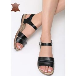 Czarne Skórzane Sandały Almond. Czarne sandały damskie marki Born2be, z materiału, na obcasie. Za 99,99 zł.