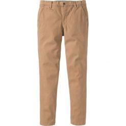 Spodnie ze stretchem chino Slim Fit Straight bonprix wielbłądzia wełna. Brązowe chinosy męskie bonprix, z wełny. Za 89,99 zł.