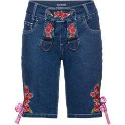 """Krótkie spodenki ludowe bonprix niebieski """"stone"""". Niebieskie szorty jeansowe damskie marki bonprix, z haftami. Za 99,99 zł."""
