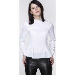 Bluzki damskie: Biała Elegancka Bluzka z Długim Rękawem z Baskinką