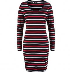 Sukienka shirtowa ze stretchem, długi rękaw, z nadrukiem bonprix czarno-biało-truskawkowy w paski. Czarne długie sukienki marki bonprix, z nadrukiem, z długim rękawem. Za 49,99 zł.