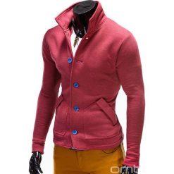 BLUZA MĘSKA ROZPINANA BEZ KAPTURA CARMELO - CZERWONA. Czerwone bluzy męskie rozpinane marki Ombre Clothing, m, z bawełny, bez kaptura. Za 69,00 zł.