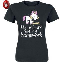 Bluzki asymetryczne: Jednorożec My Unicorn Ate My Homework Koszulka damska czarny
