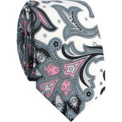 Jedwabny krawat męski KWWR007007. Szare krawaty męskie marki Reserved, w paski. Za 169,00 zł.