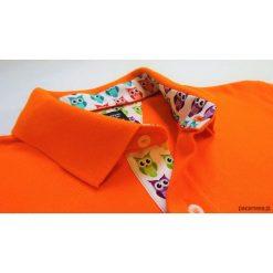 Koszulki męskie: Koszulka polo pomarańczowa z kolorowymi sowami