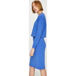 Answear - Sukienka Watch Me. Szare sukienki dzianinowe ANSWEAR, na co dzień, l, casualowe, z okrągłym kołnierzem, mini, proste. W wyprzedaży za 89,90 zł.