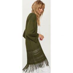 Swetry damskie: Kardigan z frędzlami – Khaki