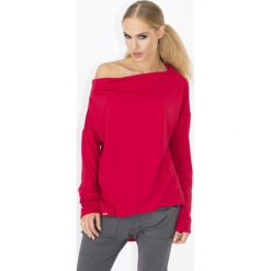 Czerwona Luźna Bluzka z Opadającym Dekoltem. Czerwone bluzki longsleeves marki Molly.pl, l, z jeansu, biznesowe, z dekoltem na plecach. Za 67,90 zł.