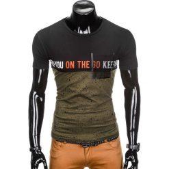 T-shirty męskie: T-SHIRT MĘSKI Z NADRUKIEM S867 - KHAKI
